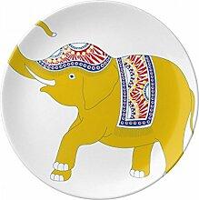 Thailand gelb Elefant Schild DEKO Porzellan