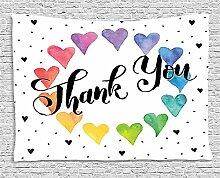 """Thank You Decor Gobelin von ambesonne, Romantische Sweet cookie Buchstaben Sugar Candy auf rustikalem Holz Tisch Bild zum Aufhängen, für Schlafzimmer Wohnzimmer Wohnheim, Rosa Weiß Braun, Textil, Multi 18, 60"""""""" W By 40"""""""" L"""