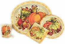 Thanksgiving Pappteller, Servietten und Becher,
