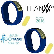 Thanxx Mückenschutz 2x Armbänder + 4x Plättchen Insektenschutz Armband (Blau)