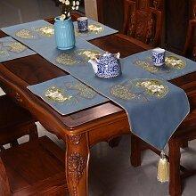 Thatch Baumwolle stickerei Tabelle flag Classic Style Garten kunst Bett Flagge über dem Wohnzimmer Tischdecken,green,33*220cm