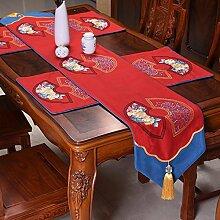Thatch Baumwolle stickerei Tabelle flag Classic Style Garten kunst Bett Flagge über dem Wohnzimmer Tischdecken,red,33*220cm
