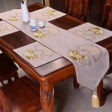 Thatch Baumwolle stickerei Tabelle flag Classic Style Garten kunst Bett Flagge über dem Wohnzimmer Tischdecken,gray,33*200cm