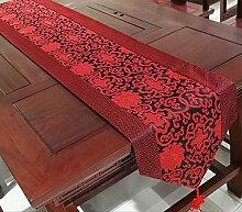 Thatch Chinesische Seide mercers Tabelle Flagge China Wind über die Tischdecke Stoffen lange Tischdecken TV-Schrank Abdeckung,black,33cm*196cm