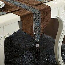 Thatch Continental Esstische Tischset Kit Tabelle flag Couchtisch Tuch TV-schrank Tischdecken Abdeckung,33cm*150cm,Brown