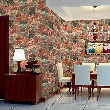Thatch Dreidimensionale Simulation von Stein Kultur Café Bar Restaurant die Steinwand Tapete , 2212 , 0.53m*10m