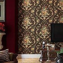 Thatch Dunkle retro Sofa Schlafzimmer ländlichen amerikanischen Tapete große Blume Tapete , deep coffee