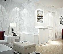 Thatch e Wellenmuster, moderne Vlies Tapete 3D geprägte Schlafzimmer Silber vertikale Streifen Tapete Tapete , 5