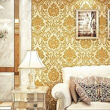 Thatch Europäischen Stil Luxus Vlies Tapete 3D Beflockung in Damaskus TV Hintergrund Tapeten , 2