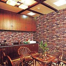 Thatch Faux Vollziegel Muster Tapete, Retro-chinesischen Stil TV Wand Kleidung Shop Esszimmer Hintergrundbild , red