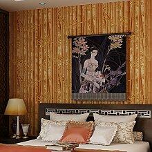 Thatch Grüner Bambus Bambus Sofa Tapete TV Hintergrund Wand Stil klassische Bauernhaus Restaurant in der Tapete , green , 0.53m*10m