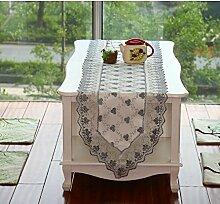 Thatch Im europäischen Stil klassische Stickerei luxus Tabelle flag Tischset Esstisch mat Tischdecken/TV-Schrank mit Garn,gray,40*180CM