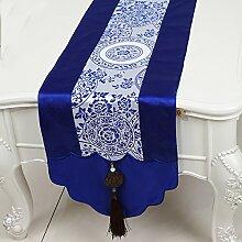 Thatch Jade Pei idyllische Tabelle flag Tücher/Tischdecke bett Schrank Flagge Flagge Tischsets langen Esstisch Stoffe,blue,33*180cm