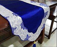 Thatch Klassische Tabelle flag kontinentales Luxus lange Tischdecke kunst Moderne, minimalistische Couchtisch Tuch schuhe Schränke TV-Schrank Abdeckung,33*200cm,blue