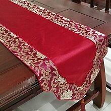 Thatch Klassische Tabelle flag kontinentales Luxus lange Tischdecke kunst Moderne, minimalistische Couchtisch Tuch schuhe Schränke TV-Schrank Abdeckung,33*200cm,red3