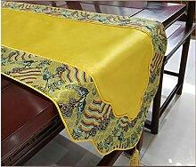 Thatch Klassische Tabelle flag kontinentales Luxus lange Tischdecke kunst Moderne, minimalistische Couchtisch Tuch schuhe Schränke TV-Schrank Abdeckung,33*200cm,yellow
