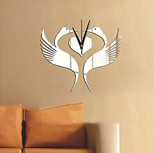 Thatch Kreative Wandaufkleber Tapete Spiegel Wanduhr White Swan House Hochzeit Uhren Wanduhren,gold