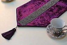 Thatch Luxus elegante samt Wasser bohren Tisch bett Flagge Flagge,purple,32*180cm