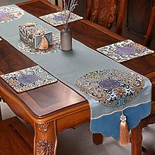 Thatch Neue Tabelle Flagge China wind klassische Tischdecken Wohnzimmer TV-schrank Esstisch Couchtisch Tuch bett Flagge,blue,34*220cm