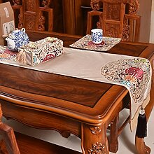 Thatch Neue Tabelle Flagge China wind klassische Tischdecken Wohnzimmer TV-schrank Esstisch Couchtisch Tuch bett Flagge,Beige,34*240cm
