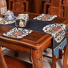 Thatch Neue Tabelle Flagge China wind klassische Tischdecken Wohnzimmer TV-schrank Esstisch Couchtisch Tuch bett Flagge,Dark blue,34*180cm