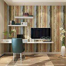 Thatch Nostalgische amerikanische Nachahmung Holz Tapete, Retro-Schlafzimmer/TV Wandfarbe vertikale Streifen Tapete