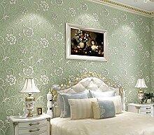 Thatch Stereo Anaglyph Vlies Luft verdickte grüne Schlafzimmer modern minimalistischen Tapete , retro green , 53*1000