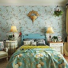 Thatch Vintage American Country Garten Blumen Tapete Klebstoff verklebt Tuch Schlafzimmer Sofa TV Hintergrund Wand Tapete , 4
