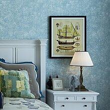 Thatch Vintage Östliches Mittelmeer nur solide Farbe Tapete Blue Denim Schlafzimmer jungen Kinderzimmer die Studie Vliestapete