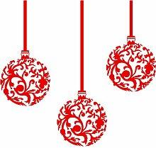 ThatVinylPlace Weihnachtskugel-Wandtattoo / Vinyl-Aufkleber, Set mit 3Kugeln (20cm), Farbe Ro