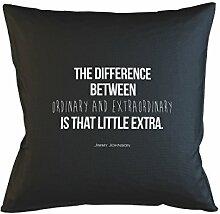 The Difference Between Ordinary And Extraordinary Jimmy Johnson Zitat Kissenbezug Haus Sofa Bett Dekor Schwarz