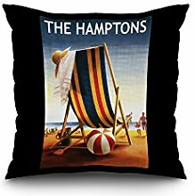 The Hamptons, New York - Beach Chair and Ball (20x20 Spun Polyester Pillow Case, White Border)