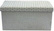 The Home Deco Factory hd3170Premiumqualität Aufbewahrung Klappbank hellgrau M2Leinen 76x 37,5x 37,5cm