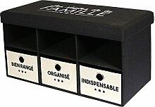 The Home Deco Factory hd4695Premiumqualität Klappbank Polyester schwarz beige 80x 40x 41cm