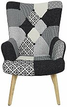 The Home Deco Factory Sessel, Holz, Schwarz-Weiss,