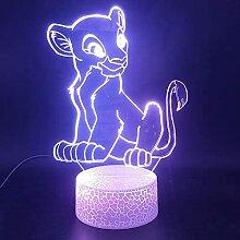 The Lion King 3D Illusion Lampe, 7 Farben Gradient