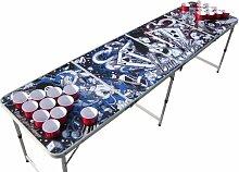 The Pong Squad Tattoo Beer Pong Tisch mit Löchern