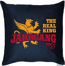 THE REAL KING JAHRGANG 1955 : Kissen mit Füllung - Witziges Zusatzkissen, 40x40 als Geschenkidee. Navy Blau
