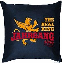 THE REAL KING JAHRGANG 1999 : Kissen mit Füllung - Witziges Zusatzkissen, 40x40 als Geschenkidee. Navy Blau