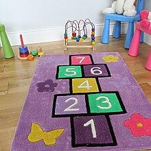 The Rug House Kinder Lila Spaß Lernen Zahl Himmel und Hölle Spielteppich 70 x 100 cm