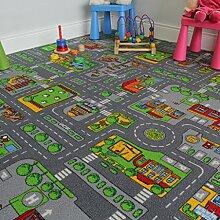 The Rug House Kinder-Spielteppich Straßen-Matte Stadt Verkehr Straßen 140cm x 200cm (4ft7 x 6ft7)