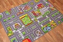 """The Rug House Kinder-Spielteppich Straßen-Matte Stadt Verkehr Straßen 95cm x 133cm (3ft 1"""" x 4ft 4"""")"""