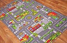 """The Rug House Kinder-Spielteppich Straßen-Matte Stadt Verkehr Straßen 100cm x 165cm (3ft 3"""" x 5ft 5"""")"""