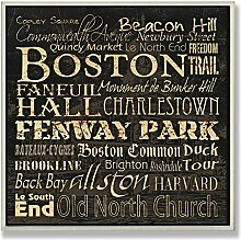 The Stupell Home Decor Collection Boston Landmarks Square Wall Plaque