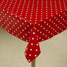 The Tablecloth Shop Tischdecke rot Polka Dot, Tischdecke aus Vinyl, 2,5m