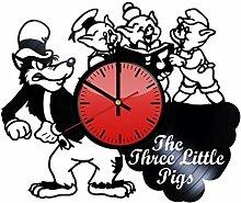 The Three Little Pigs Wanduhr aus Vinyl –