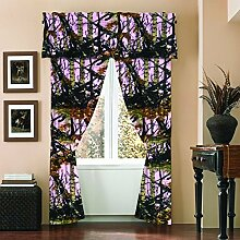 The Woods Camo Curtain & Valance 5 Piece Drape Set Pink by Regal Comfor