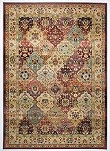 THEKO Moderner gewebter Designer Teppich Farbe rot