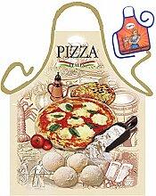 Themen-Schürze/Spaß-Grill/Kochschürze Rubrik Italien: Pizza - Geschenk-Set inkl. Mini-Schürze