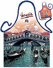 Themen-Schürze/Spaß-Grill/Kochschürze Rubrik Italien/Venedig: Venezia Rialto - Geschenk-Set inkl. Mini-Schürze